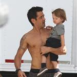 Shirtless Colin Farrell with son Henry on the set of Total Recall in Toronto 89991