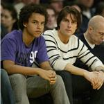 Tom Cruise with son Connor at Laker game March 2011 82107