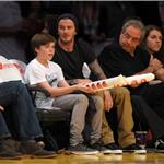 David Beckham with son Brooklyn at Laker game  82114