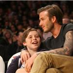 David Beckham with son Brooklyn at Laker game  82116