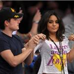 Vanessa Hudgens with Josh Hutcherson at Laker game 82117