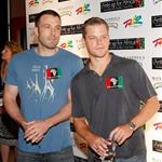 Ben Affleck and Matt Damon arrives at the Ante Up for Africa celebrity poker tournament at the Rio Hotel & Casino July 2, 2009 in Las Vegas, Nevada 107655