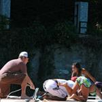 Matt Damon and Don Cheadle with their families on holiday at Clooney's at Lake Como 44082