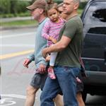 A bald Matt Damon with family in Vancouver  90307