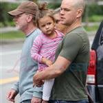A bald Matt Damon with family in Vancouver  90308