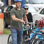 A bald Matt Damon bikes with family in Vancouver  90313