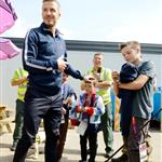 David Beckham and his sons inside the security zone at Stratford east on Day 14 of the London 2012 Olympic Games 123051