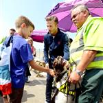David Beckham and his sons inside the security zone at Stratford east on Day 14 of the London 2012 Olympic Games 123053