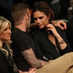 David Beckham and Victoria Beckham watch the Los Angeles Lakers Vs The Denver Nuggets with his sister Joanne and mom Sandra 113145