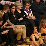 David Beckham and Victoria Beckham watch the Los Angeles Lakers Vs The Denver Nuggets with his sister Joanne and mom Sandra 113150
