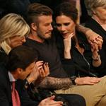 David Beckham and Victoria Beckham watch the Los Angeles Lakers Vs The Denver Nuggets with his sister Joanne and mom Sandra 113151