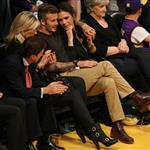 David Beckham and Victoria Beckham watch the Los Angeles Lakers Vs The Denver Nuggets with his sister Joanne and mom Sandra 113154