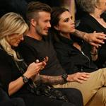 David Beckham and Victoria Beckham watch the Los Angeles Lakers Vs The Denver Nuggets with his sister Joanne and mom Sandra 113160