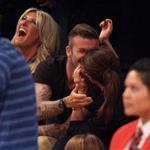 David Beckham and Victoria Beckham watch the Los Angeles Lakers Vs The Denver Nuggets with his sister Joanne and mom Sandra 113163