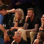 David Beckham and Victoria Beckham watch the Los Angeles Lakers Vs The Denver Nuggets with his sister Joanne and mom Sandra 113166