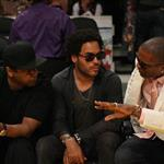 Denzel Washington and Lenny Kravitz at the Laker Game 55831