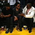 Denzel Washington and Lenny Kravitz at the Laker Game 55832
