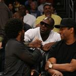 Denzel Washington and Lenny Kravitz at the Laker Game 55833