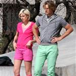Gabriel Aubry in lime green pants shooting a commercial with Agyness Deyn in New York 36962