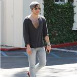 Ed Westwick open shirt fur in LA 66499
