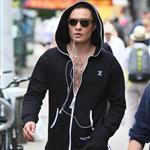 Ed Westwick on the set of Gossip Girl in the Bowery, Manhattan 122113