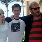 Emma Stone, Andrew Garfield, and Rhys Ifans attend The Amazing Spiderman photo call at Summer of Sony 4 Spring Edition held at the Ritz Carlton Hotel in Cancun, Mexico 111505