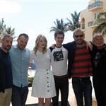 Matt Tolmach, Marc Webb, Emma Stone, Andrew Garfield, Rhys Ifans and Avi Arad attend The Amazing Spiderman photo call at Summer of Sony 4 Spring Edition held at the Ritz Carlton Hotel in Cancun, Mexico 111510
