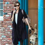 Eva Mendes leaves her office with Ryan Gosling's dog George  103653