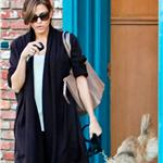 Eva Mendes leaves her office with Ryan Gosling's dog George  103658