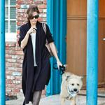 Eva Mendes leaves her office with Ryan Gosling's dog George  103661