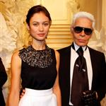 Olga Kurylenko with Karl Lagerfeld at Chanel Paris Fashion Week Fall 09 31583