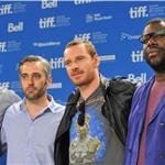 Emile Sherman, Iain Canning, Michael Fassbender Steve McQueen at Shame press conference  94084