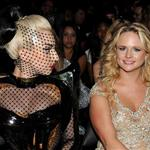 Lady Gaga, Miranda Lambert and Blake Shelton attend the 54th Annual Grammy Awards 105552