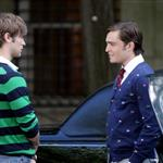 Chace Crawford and Ed Westwick wearing stripes and flags shooting Gossip Girl 23794