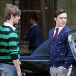 Chace Crawford and Ed Westwick wearing stripes and flags shooting Gossip Girl 23793