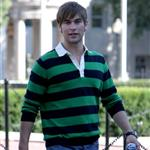 Chace Crawford and Ed Westwick wearing stripes and flags shooting Gossip Girl 23792