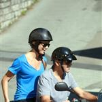 George Clooney and Stacy Keibler enjoying a scooter trip in Switzerland  120480
