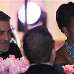 Prime Minister David Cameron , Michelle Obama and George Clooney listen to US President Barack Obama address guests at a dinner in honour of Mr and Mrs Cameron's visit to Washington 108967