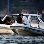 George Clooney goes boating with friends in Lake Como 92940