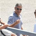 George Clooney shoots a commercial in Sarnico, Italy 121923