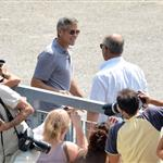 George Clooney shoots a commercial in Sarnico, Italy 121924