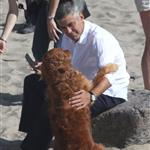 George Clooney shoots a commercial with a dog in Malibu 114688