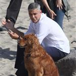 George Clooney shoots a commercial with a dog in Malibu 114683