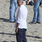 George Clooney shoots a commercial with a dog in Malibu 114691