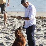 George Clooney shoots a commercial with a dog in Malibu 114692