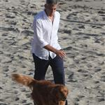 George Clooney shoots a commercial with a dog in Malibu 114678