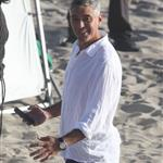 George Clooney shoots a commercial with a dog in Malibu 114695