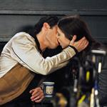 Penn Badgley kissing Michelle Trachtenberg on set of Gossip Girl 19563