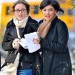 Leighton Meester arm arm in arm with co-conspirator Jessica Szohr yesterday 30823