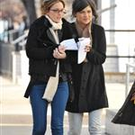 Leighton Meester arm arm in arm with co-conspirator Jessica Szohr yesterday 30824